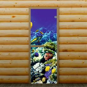 Дверь для бани и сауны 'Морское дно', 190 х 70 см, с фотопечатью 6 мм Добропаровъ Ош