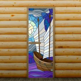 Дверь для бани и сауны 'Корабль', 190 х 70 см, с фотопечатью 6 мм Добропаровъ Ош