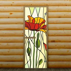 Дверь для бани и сауны 'Мак', 190 х 70 см, с фотопечатью 6 мм Добропаровъ Ош