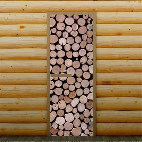 Дверь для бани и сауны 'Спилы', 190 х 70 см, с фотопечатью 6 мм Добропаровъ Ош