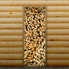 Дверь для бани и сауны 'Поленница', 190 х 70 см, с фотопечатью 6 мм Добропаровъ Ош