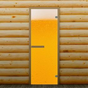 Дверь для бани и сауны 'Пенное', 190 х 70 см, с фотопечатью 6 мм Добропаровъ Ош