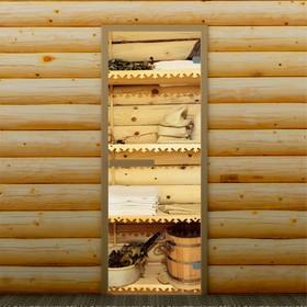 Дверь для бани и сауны 'Банные принадлежности', 190 х 70 см, с фотопечатью 6 мм Добропаровъ   338863 Ош