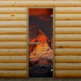 Дверь для бани и сауны 'Горная вершина', 190 х 70 см, с фотопечатью 6 мм Добропаровъ Ош
