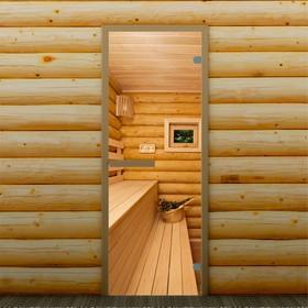Дверь для бани и сауны стеклянная 'Полок', 190×70см, 6мм, с фотопечатью Ош