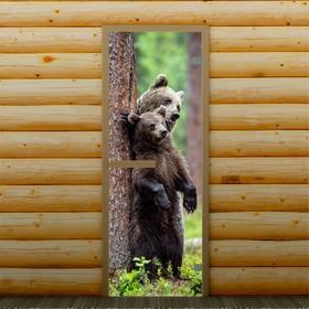 Дверь для бани и сауны стеклянная 'Мишки у дерева', 190×70см, 6мм, с фотопечатью Ош