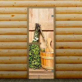 Дверь для бани и сауны стеклянная 'Веник в бане', 190×70см, 6мм, с фотопечатью Ош