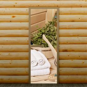 Дверь для бани и сауны 'Банные аксессуары', 190 х 70 см, с фотопечатью 6 мм Добропаровъ Ош