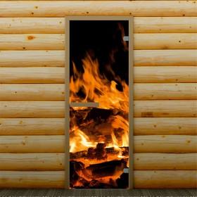 Дверь для бани и сауны 'Пламя', 190 х 70 см, с фотопечатью 6 мм Добропаровъ Ош