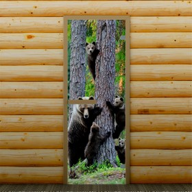 Дверь для бани и сауны 'На прогулке', 190 х 70 см, с фотопечатью 6 мм Добропаровъ Ош