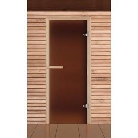 Дверь для бани и сауны стеклянная 'Бронза', 190×70см, 6мм, левое открывание Ош