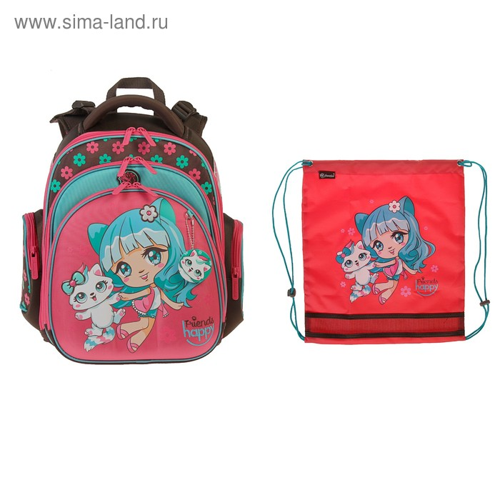 Рюкзак каркасный Hummingbird TK 37 х 32 х 18 см, мешок, для девочки, «Девочка», розовый/коричневый