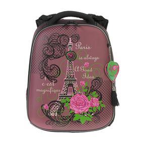 Рюкзак каркасный Hummingbird T 39 х 28 х 20 см, для девочки, «Париж», сиреневый
