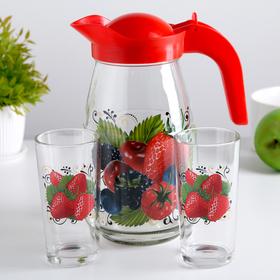 Набор питьевой 'Ягодный фреш', 3 предмета: кувшин 1,5 л, 2 стакана 250 мл Ош