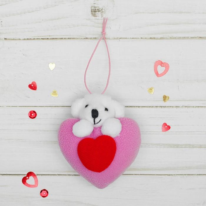 Подвеска Мишка, двойное сердце, цвета МИКС