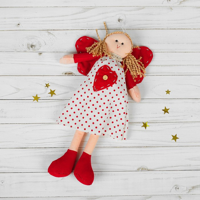 Подвеска Ангел-кукла, красные крылья, цвета МИКС