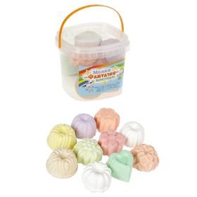 Мелки цветные для асфальта 10 штук, 7 цветов «Фантазия», в форме кекса