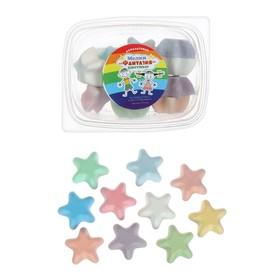 Мелки цветные для асфальта 12 штук, 10 цветов «Фантазия», в форме звёздочки