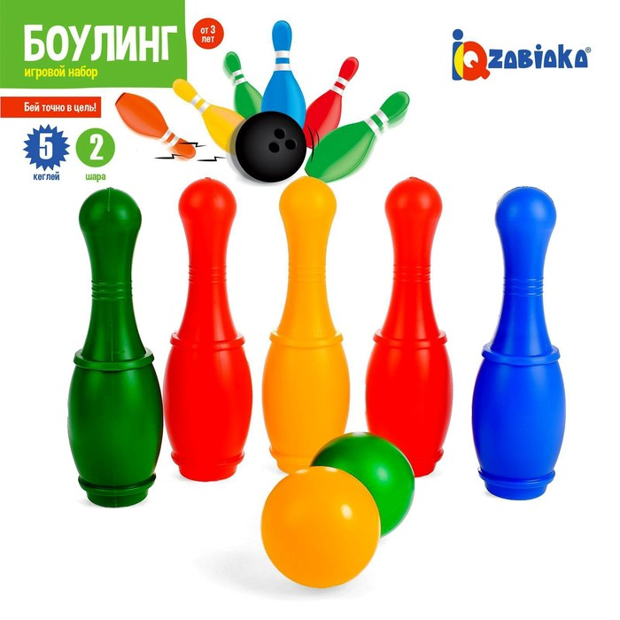 Боулинг «Набор 34», цветной, 5 кеглей, 2 шара, в сетке