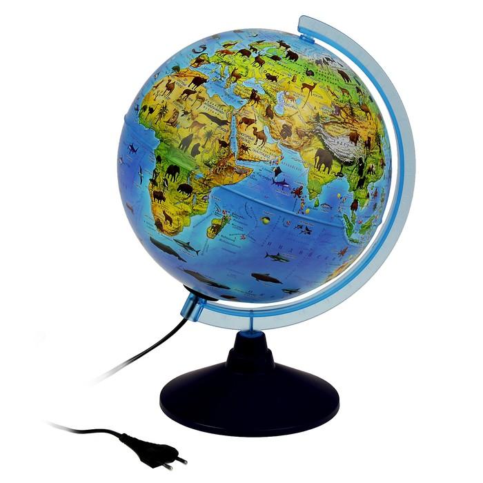 Глoбус зоогеографический детский Классик Евро, диаметр 250 мм, с подсветкой