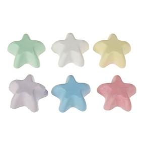 Мелки цветные для асфальта 6 штук «Фантазия», в форме звёздочки, пакет с европодвесом
