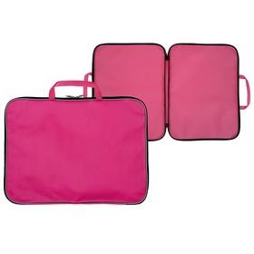 Папка А3 с ручками, текстиль, 20 мм, Стандарт, 470 х 350 мм, Розовая Ош
