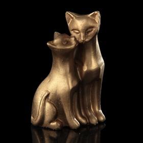 Сувенир полистоун 'Кошка с котёнком' бронза 5х4х2 см Ош