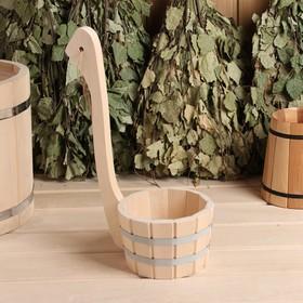 Ковш для бани из липы 0.5л, 20 см, с вертикальной ручкой Ош