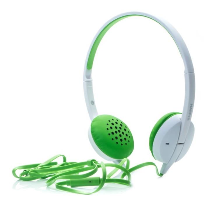 Наушники с микрофоном Harper HN-300 Green, накладные, зеленые