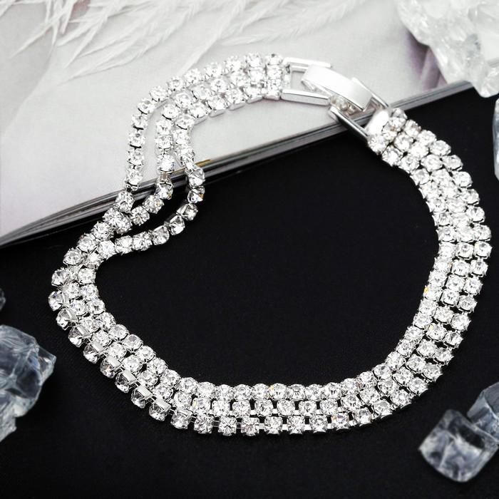 Браслет со стразами Лёд элегантность, 3 ряда, цвет белый в серебре,L18см