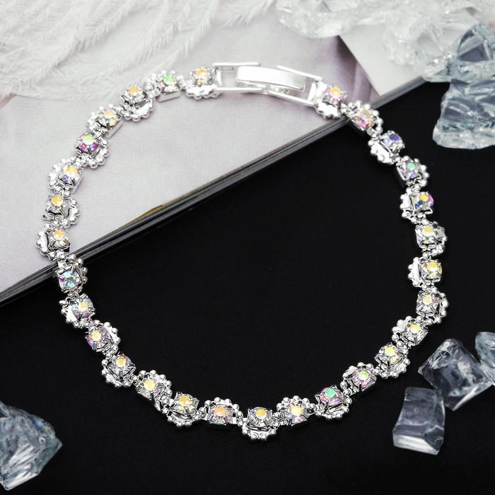 Браслет со стразами Лёд ручей, цвет радужный в серебре,L18см