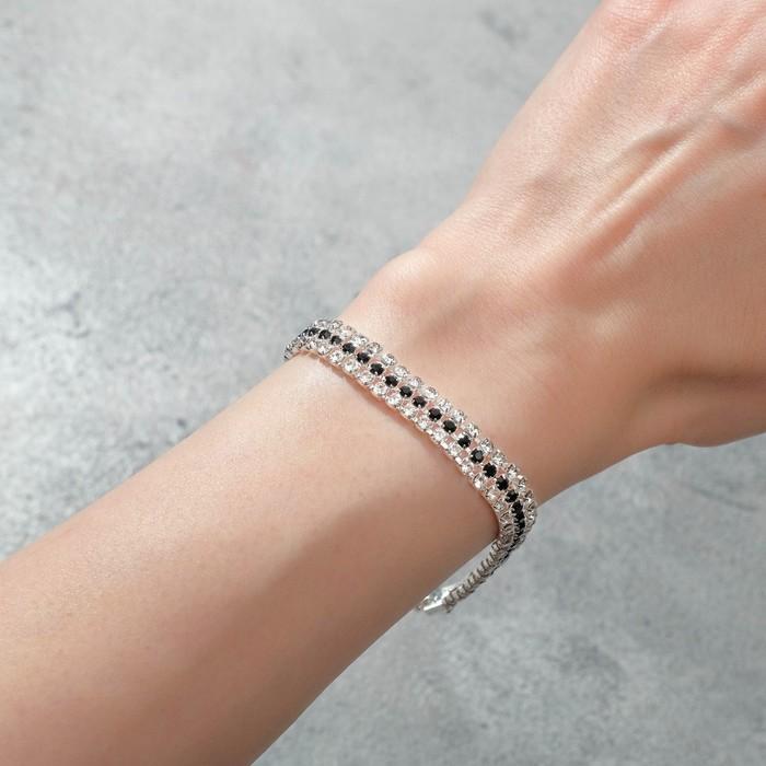 Браслет со стразами Лёд элегантность, строчки, цвет бело-чёрный в серебре, 18см