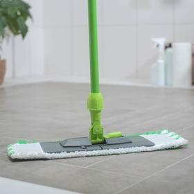 Швабра плоская, ручка 120 см , насадка микрофибра 40×10 см, цвет зелёный