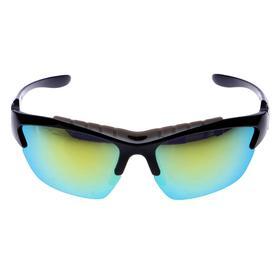 Очки спортивные, линзы зеркальные, оправа прорезиненная сверху, чёрные, 14х5.5 см Ош