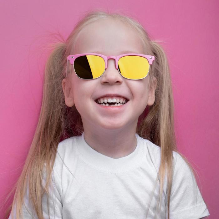 Очки солнцезащитные детские Round, оправа и дужки разного цвета, МИКС, 12.5  4.5 см