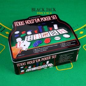 Покер, набор для игры (карты 2 колоды микс, фишки с/номин. 200 шт, сукно 60х90 см) Ош