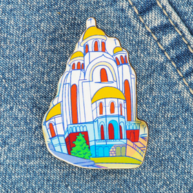 Значок деревянный «Екатеринбург» (Храм-на-Крови) Ош