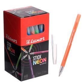 Ручка шариковая Luxor 1230/48BX Stick Neon, узел 1.0 мм, чернила синие, микс, цена за шт.