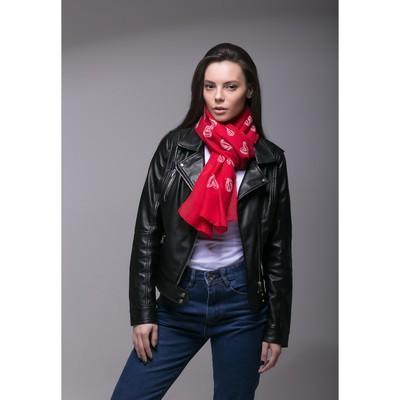 """Палантин Этель """"Сердечки"""", размер 70 х 180 см, вид 1, цвет красный/белый"""