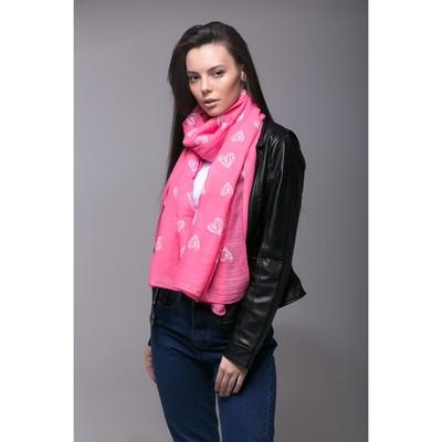 """Палантин Этель """"Сердечки"""", размер 70 х 180 см, вид 1, цвет розовый/белый"""