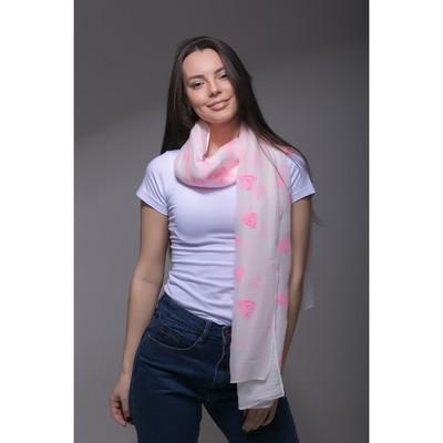 """Палантин Этель """"Сердечки"""", размер 70 х 180 см, вид 2, цвет белый/розовый"""