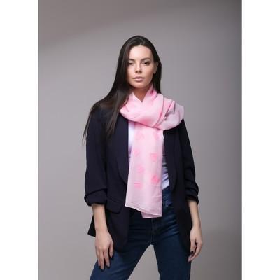 """Палантин Этель """"Сердечки"""", размер 70 х 180 см, вид 2, цвет светло-розовый/розовый"""
