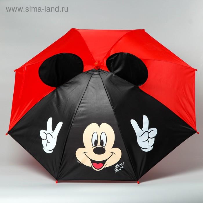 """Зонт детский """"Привет"""" Микки Маус 8 спиц d=70 см с ушами"""
