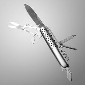 Нож швейцарский Мастер К. 7в1, рукоять с перфорацией, хром Ош