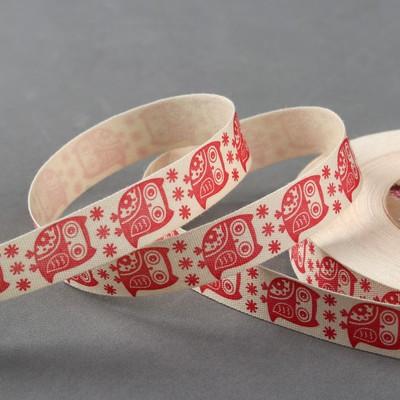 Лента хлопковая «Совы», 15 мм, 23 ± 1 м, цвет бежевый/красный - Фото 1