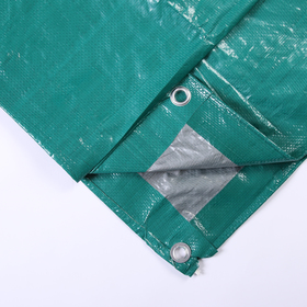 Тент защитный, 3 × 2 м, плотность 120 г/м², люверсы шаг 1 м, зелёный/серебристый Ош