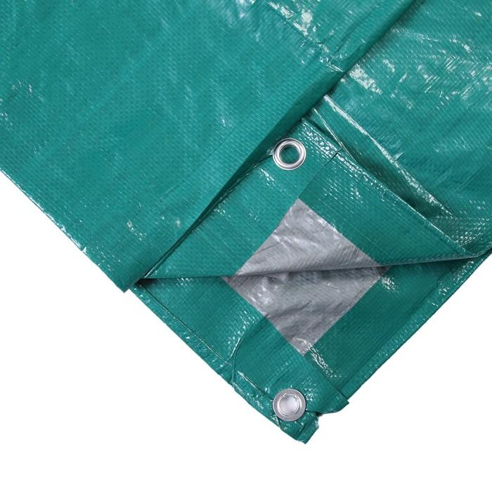 Тент защитный, 3  2 м, плотность 120 гм, люверсы шаг 1 м, тарпаулин, УФ, зелёныйсеребристый