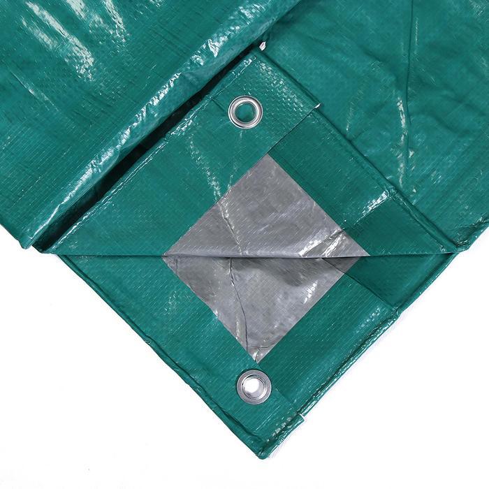 Тент защитный, 4  3 м, плотность 120 гм, люверсы шаг 1 м, тарпаулин, УФ, зелёныйсеребристый