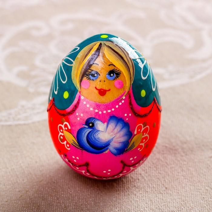 Яйцо Матрёшка с голубем, 7 см, микс