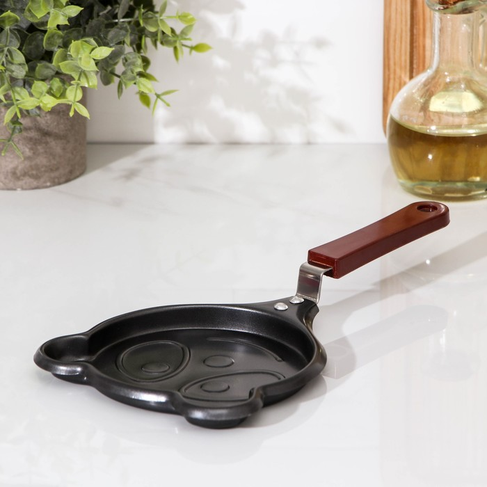Сковорода Доляна «Панда», d=14 см, антипригарное покрытие, цвет чёрный